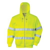 Sweat zip à capuche HiVis jaune PORTWEST